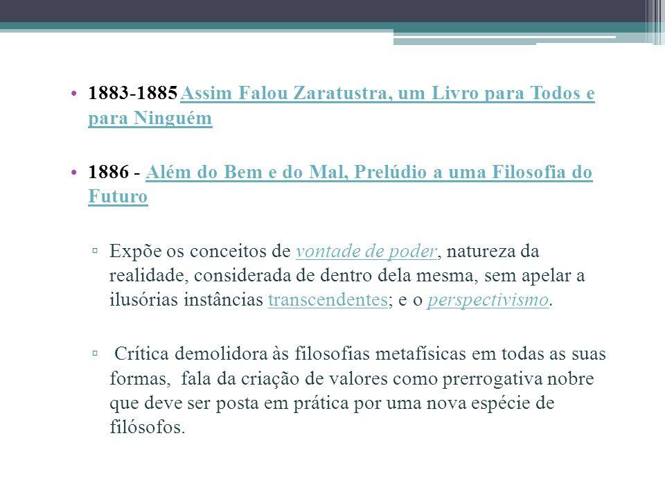 1883-1885 Assim Falou Zaratustra, um Livro para Todos e para Ninguém Assim Falou Zaratustra, um Livro para Todos e para Ninguém 1886 - Além do Bem e d