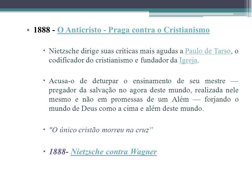 1888 - O Anticristo - Praga contra o Cristianismo O Anticristo - Praga contra o Cristianismo Nietzsche dirige suas críticas mais agudas a Paulo de Tar