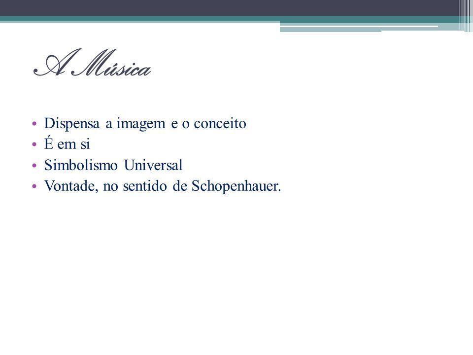 A Música Dispensa a imagem e o conceito É em si Simbolismo Universal Vontade, no sentido de Schopenhauer.