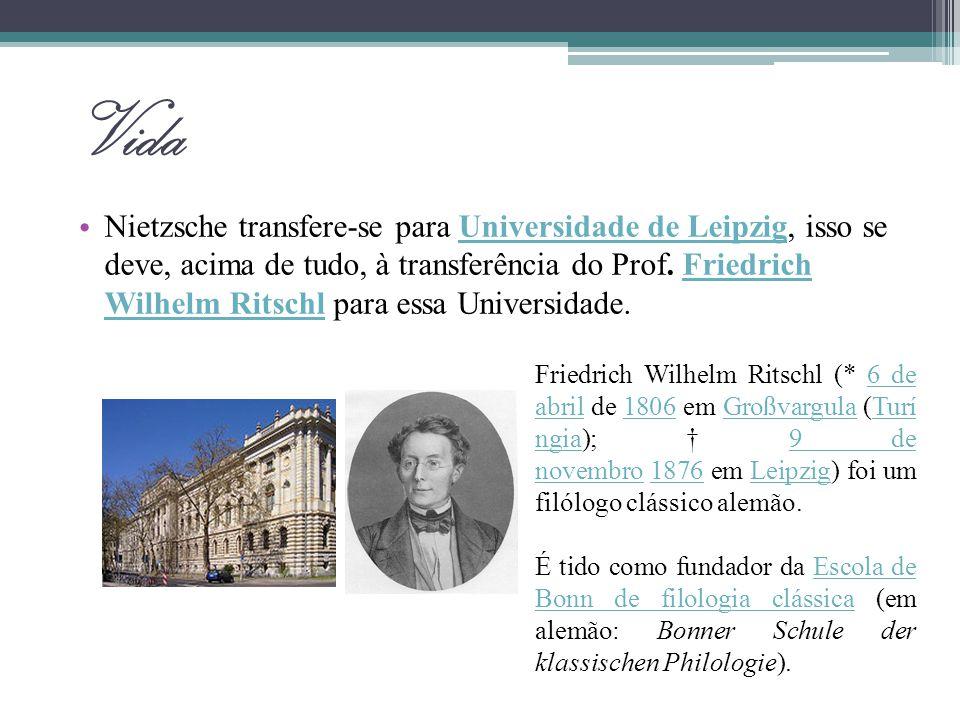 A influência de Schopenhauer Durante os seus estudos na universidade de Leipzig, a leitura de Schopenhauer (O Mundo como Vontade e Representação, 1820) vai constituir as premissas da filosofia de Nietzsche.LeipzigSchopenhauer1820 Um tal cavaleiro dureriano foi o nosso Schopenhauer: faltava-lhe qualquer esperança, mas queria a verdade.