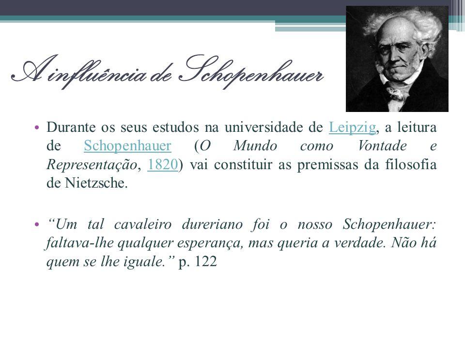 A influência de Schopenhauer Durante os seus estudos na universidade de Leipzig, a leitura de Schopenhauer (O Mundo como Vontade e Representação, 1820