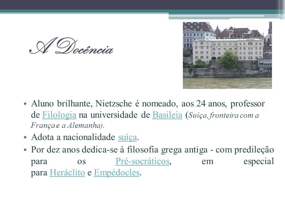 A Docência Aluno brilhante, Nietzsche é nomeado, aos 24 anos, professor de Filologia na universidade de Basileia ( Suíça, fronteira com a França e a A