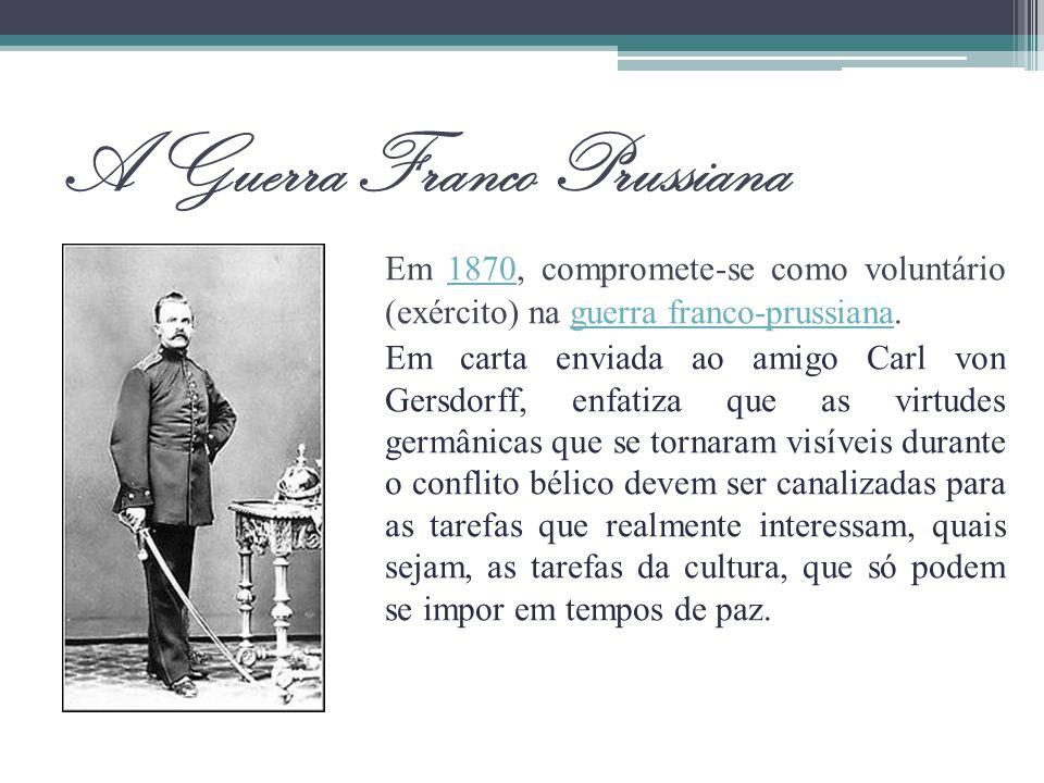 A Guerra Franco Prussiana Em 1870, compromete-se como voluntário (exército) na guerra franco-prussiana.1870guerra franco-prussiana Em carta enviada ao