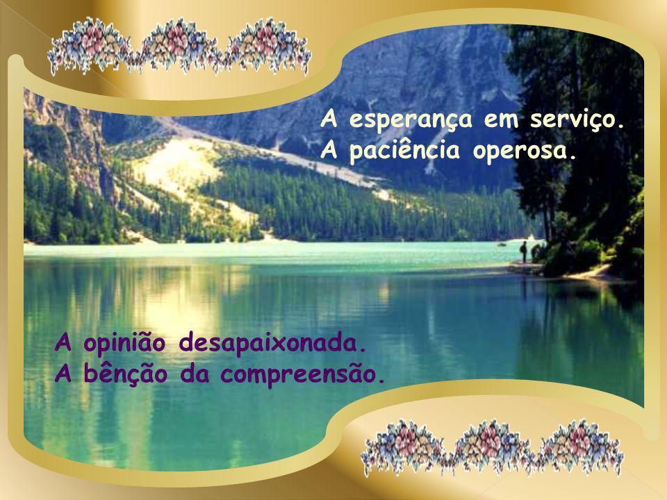 A esperança em serviço. A paciência operosa. A opinião desapaixonada. A bênção da compreensão.