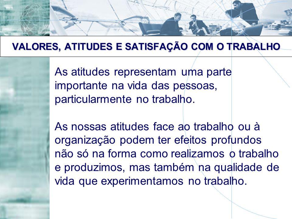 VALORES, ATITUDES E SATISFAÇÃO COM O TRABALHO As atitudes representam uma parte importante na vida das pessoas, particularmente no trabalho. As nossas
