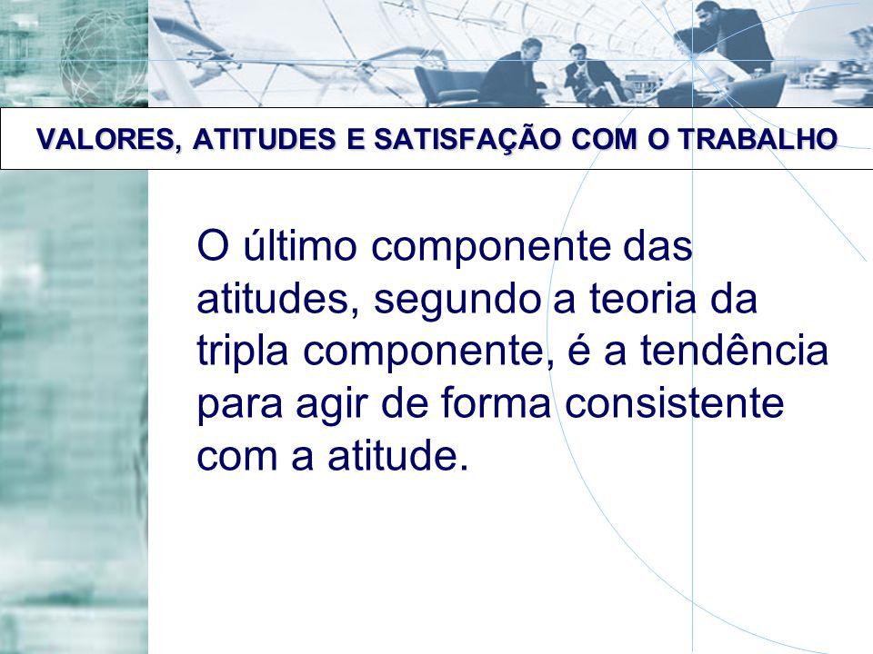 VALORES, ATITUDES E SATISFAÇÃO COM O TRABALHO O último componente das atitudes, segundo a teoria da tripla componente, é a tendência para agir de form