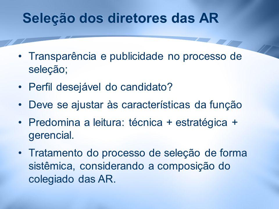 Seleção dos diretores das AR Transparência e publicidade no processo de seleção; Perfil desejável do candidato? Deve se ajustar às características da