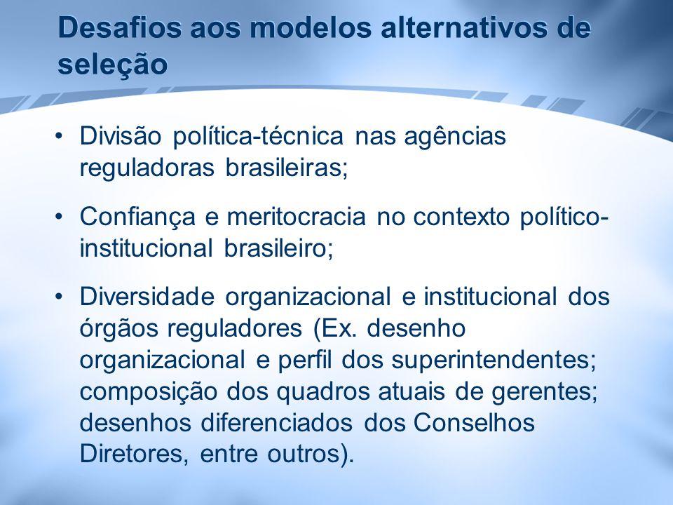 Desafios aos modelos alternativos de seleção Divisão política-técnica nas agências reguladoras brasileiras; Confiança e meritocracia no contexto polít