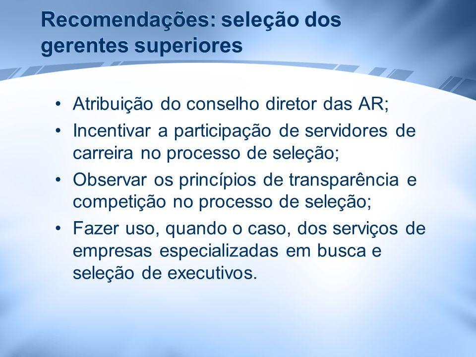 Recomendações: seleção dos gerentes superiores Atribuição do conselho diretor das AR; Incentivar a participação de servidores de carreira no processo