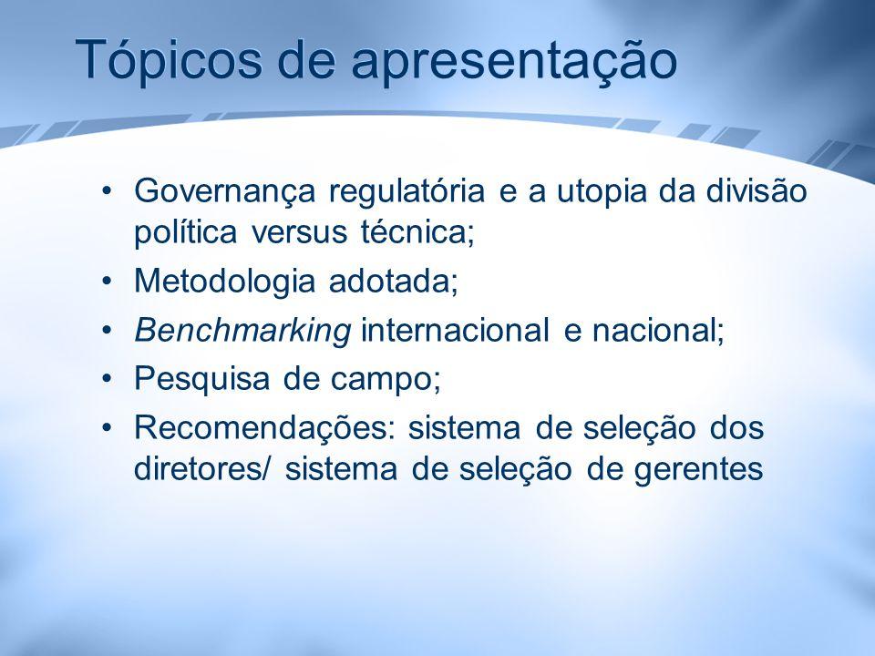 Tópicos de apresentação Governança regulatória e a utopia da divisão política versus técnica; Metodologia adotada; Benchmarking internacional e nacion