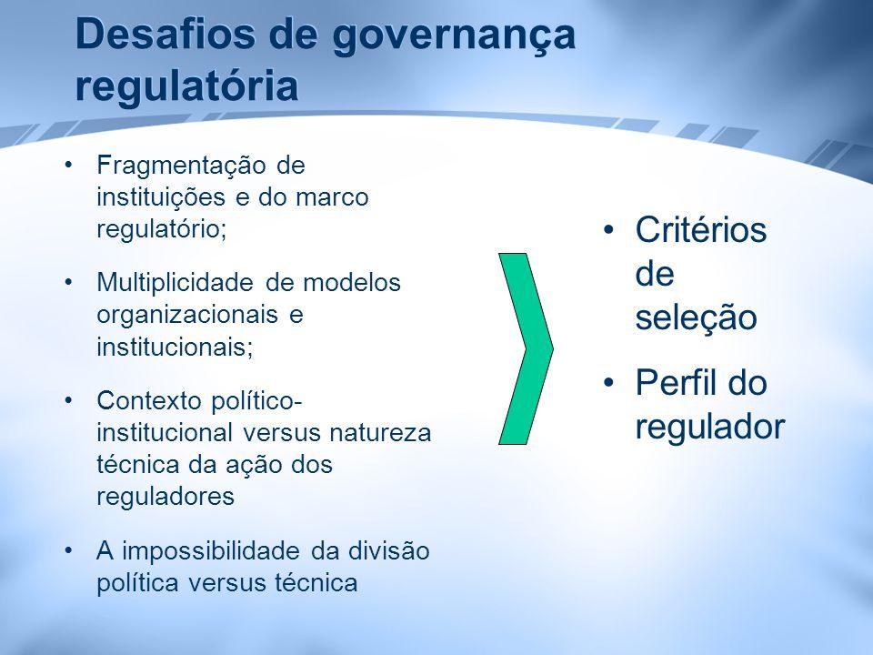 Desafios de governança regulatória Fragmentação de instituições e do marco regulatório; Multiplicidade de modelos organizacionais e institucionais; Co