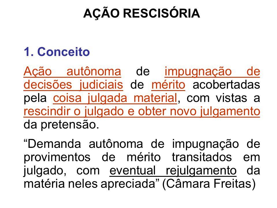 AÇÃO RESCISÓRIA 1. Conceito Ação autônoma de impugnação de decisões judiciais de mérito acobertadas pela coisa julgada material, com vistas a rescindi