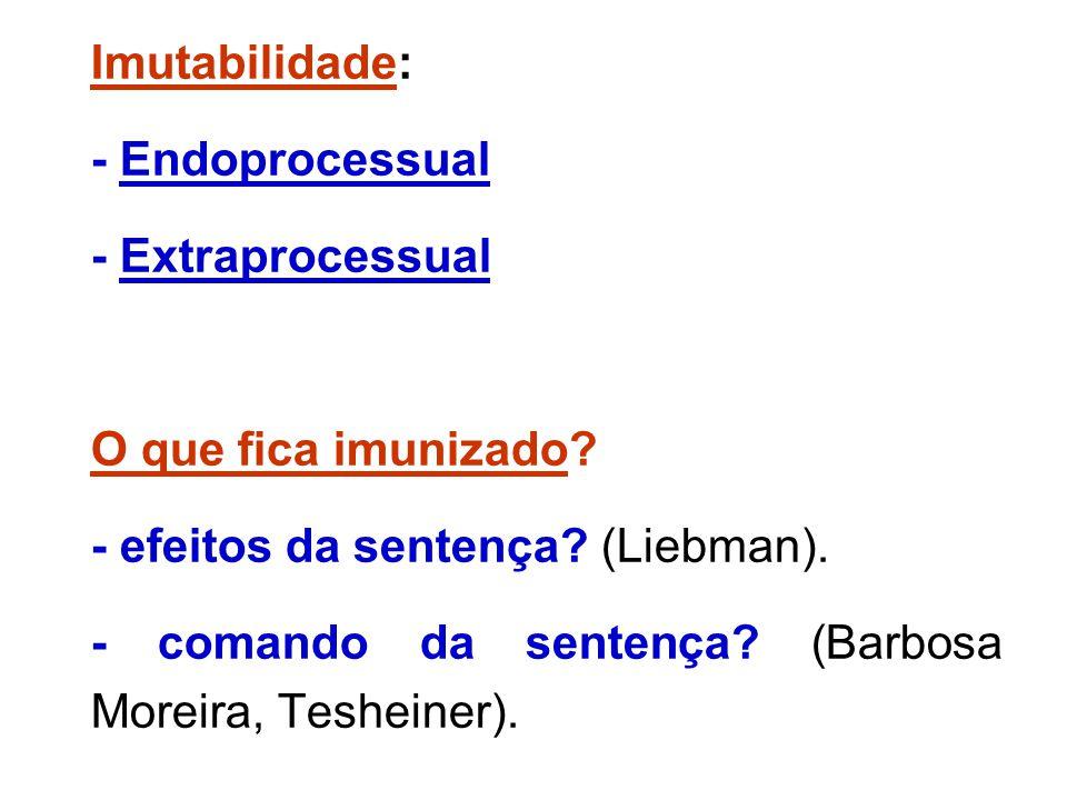 Imutabilidade: - Endoprocessual - Extraprocessual O que fica imunizado? - efeitos da sentença? (Liebman). - comando da sentença? (Barbosa Moreira, Tes