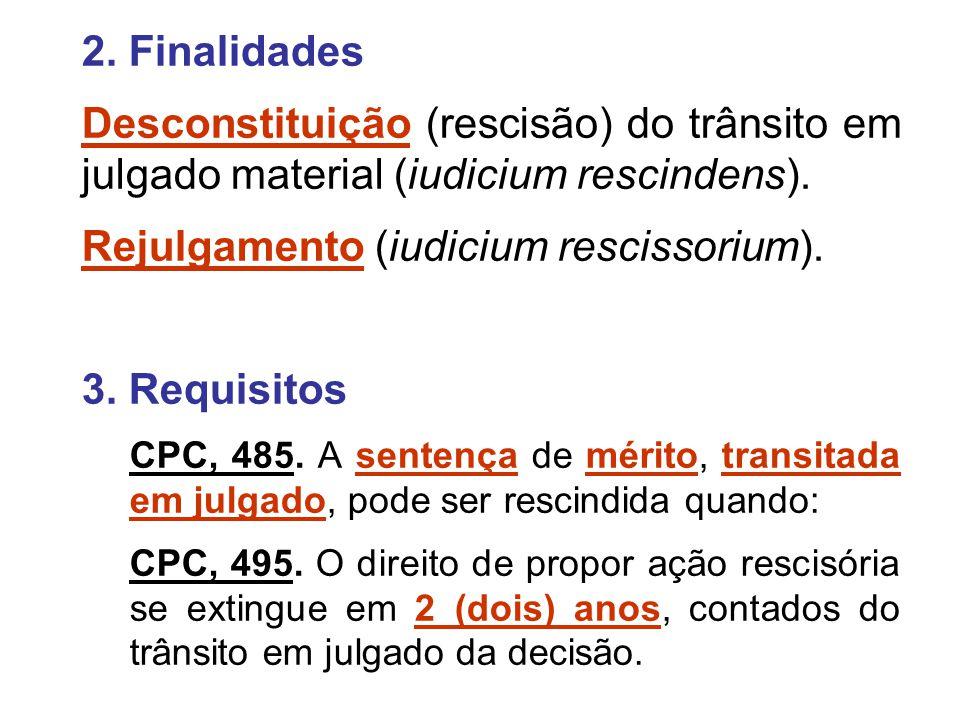 2. Finalidades Desconstituição (rescisão) do trânsito em julgado material (iudicium rescindens). Rejulgamento (iudicium rescissorium). 3. Requisitos C