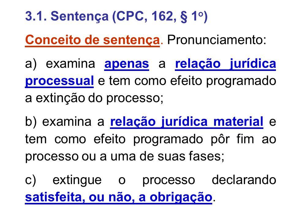 3.1. Sentença (CPC, 162, § 1 o ) Conceito de sentença. Pronunciamento: a) examina apenas a relação jurídica processual e tem como efeito programado a