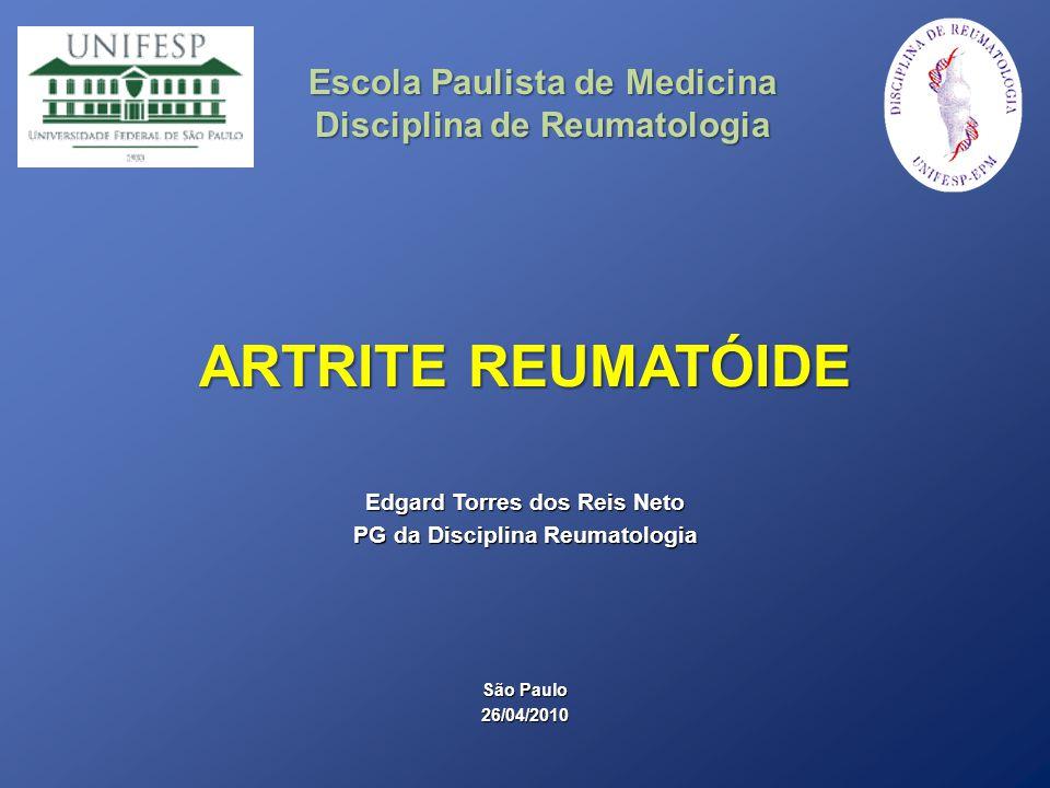 INTRODUÇÃO Doença inflamatória crônica que acomete principalmente a membrana sinovial das articulações diartrodiais, caracterizado por sinovite Incidência anual 0,1 a 0,2/1000 homens 0,2 a 0,4/1000 mulheres Prevalência Mundo 0,1 a 1,7% Brasil 0,46% Pico de incidência entre 30 e 70 anos de idade