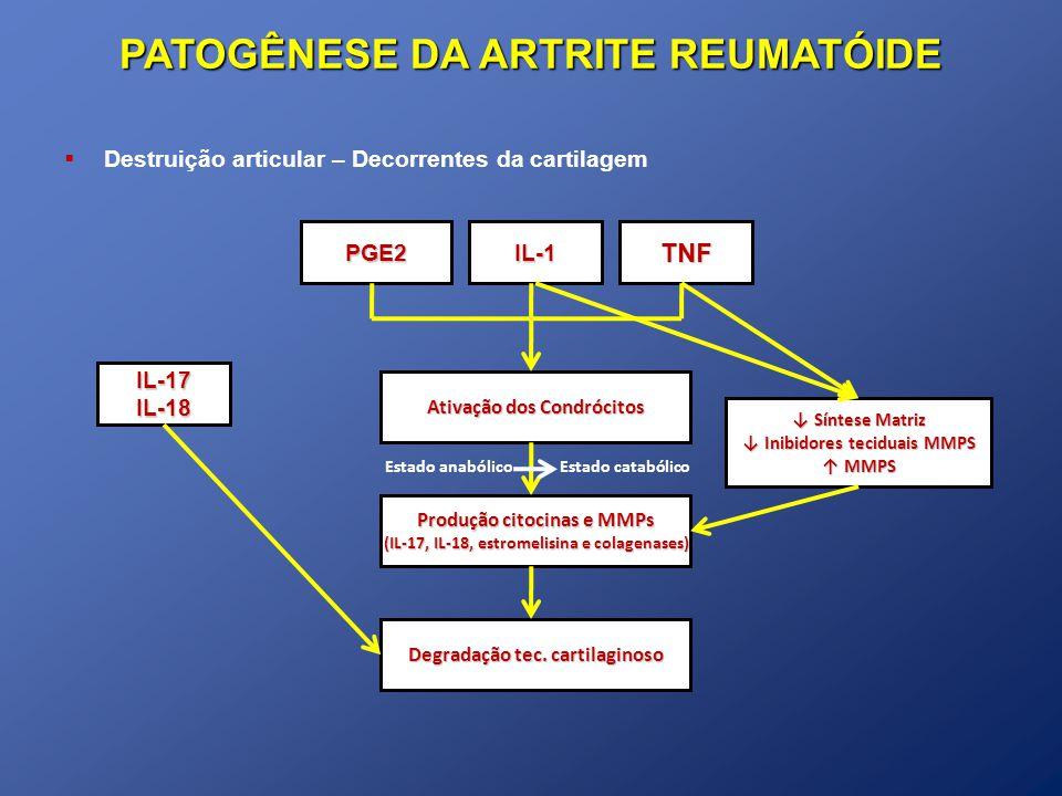 PATOGÊNESE DA ARTRITE REUMATÓIDE Destruição articular – Decorrentes da cartilagem TNFPGE2IL-1 Ativação dos Condrócitos Produção citocinas e MMPs (IL-17, IL-18, estromelisina e colagenases) Degradação tec.