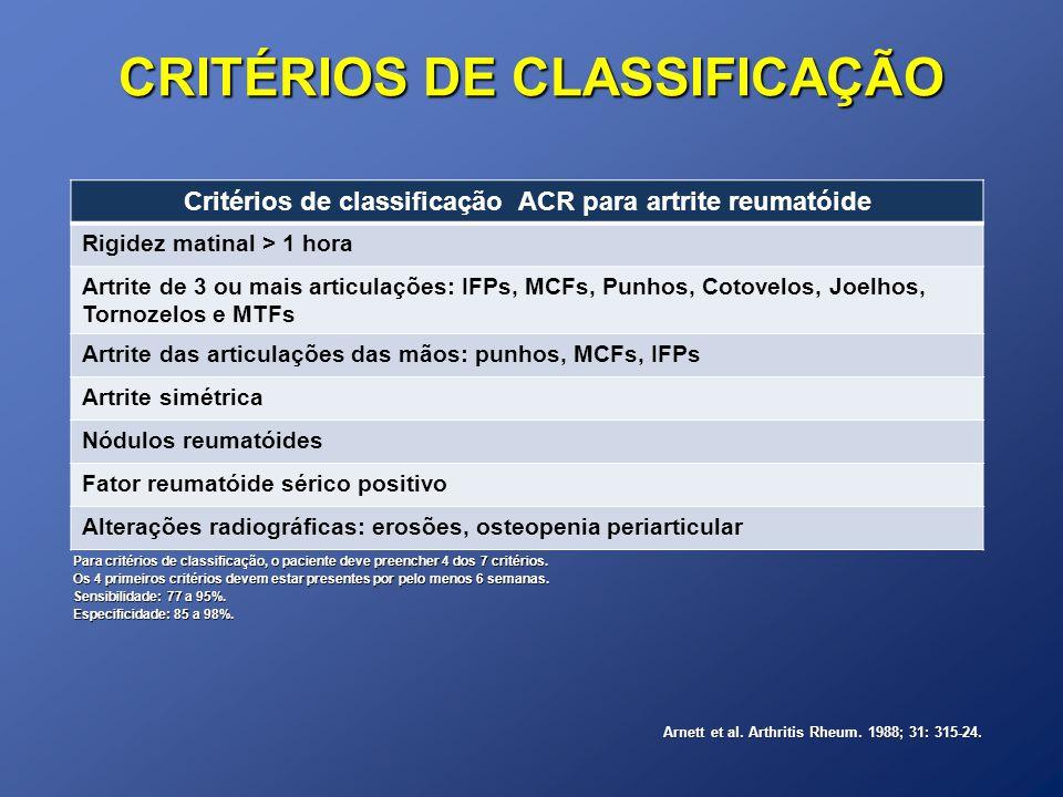 CRITÉRIOS DE CLASSIFICAÇÃO Critérios de classificação ACR para artrite reumatóide Rigidez matinal > 1 hora Artrite de 3 ou mais articulações: IFPs, MC