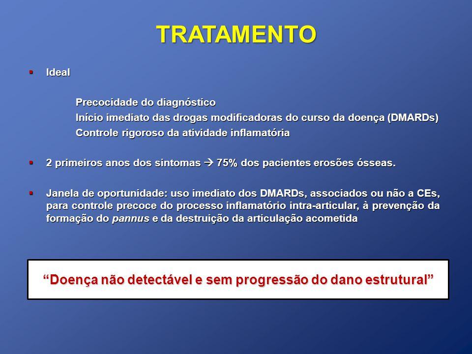 TRATAMENTO Ideal Ideal Precocidade do diagnóstico Início imediato das drogas modificadoras do curso da doença (DMARDs) Controle rigoroso da atividade inflamatória 2 primeiros anos dos sintomas 75% dos pacientes erosões ósseas.