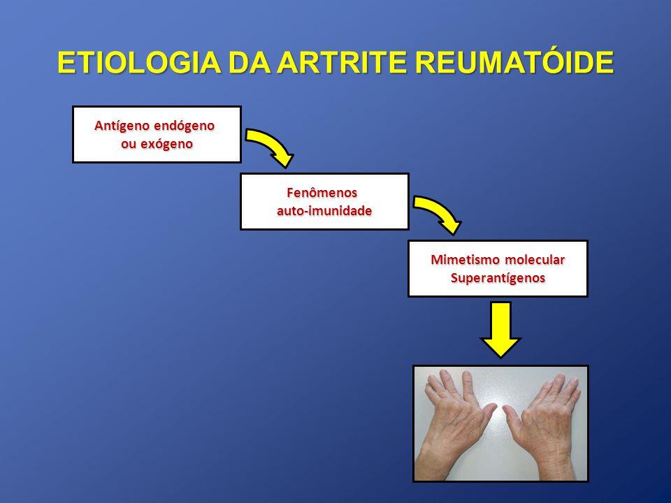 Auto-imunidade Ativação policlonal Linfócitos B Acs Fc Ig Fator Reumatóide Fixa IgG Formação Complexos Imunes Ativação complemento Quimiotaxia, Fagocitose Acs Antipeptídeos citrulinados (ACPA) Células T Arginina Citrulina Peptidil arginina deaminase Mesmo em pacientes assintomáticos PATOGÊNESE DA ARTRITE REUMATÓIDE