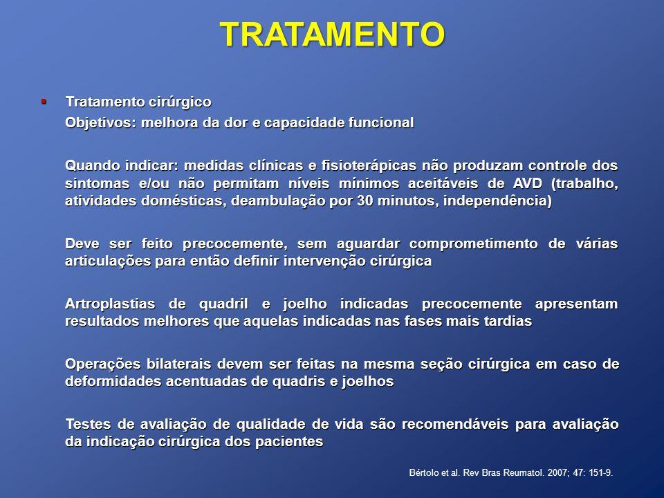 Tratamento cirúrgico Tratamento cirúrgico Objetivos: melhora da dor e capacidade funcional Quando indicar: medidas clínicas e fisioterápicas não produ