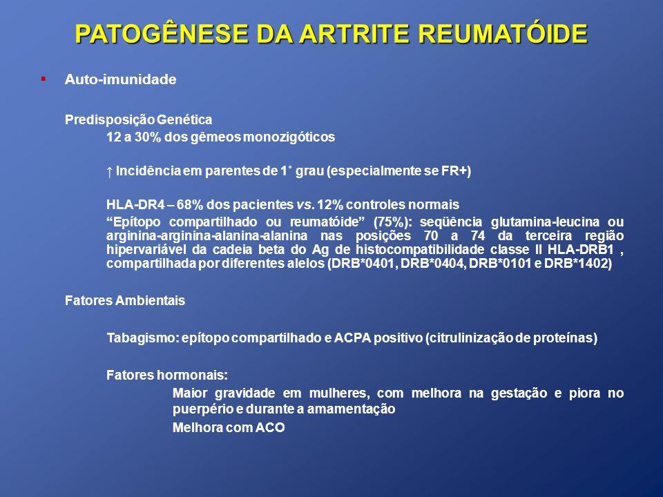 QUADRO CLÍNICO Síndrome de Felty Síndrome de Felty Doença de longa duração, FR+, artrite deformante e nódulos Maior suscetibilidade a infecções, úlceras de MMII, hiperpigmentação, FAN+ e doenças linfoproliferativas AR + Leucopenia (Neutropenia) + Esplenomegalia