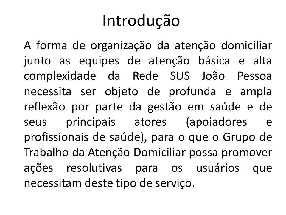 Introdução A forma de organização da atenção domiciliar junto as equipes de atenção básica e alta complexidade da Rede SUS João Pessoa necessita ser o