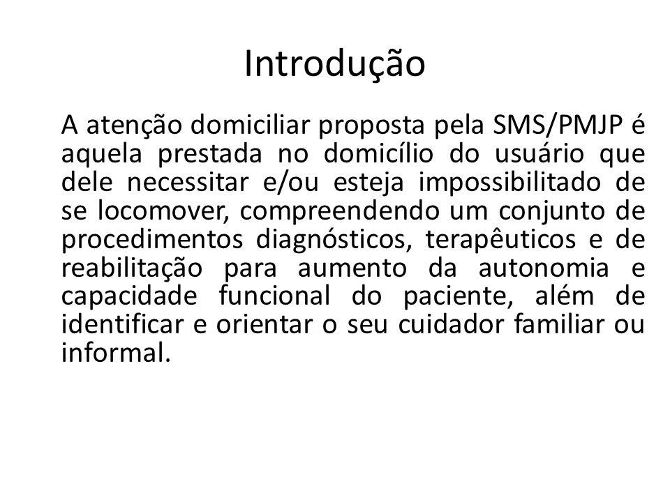 Introdução A atenção domiciliar proposta pela SMS/PMJP é aquela prestada no domicílio do usuário que dele necessitar e/ou esteja impossibilitado de se