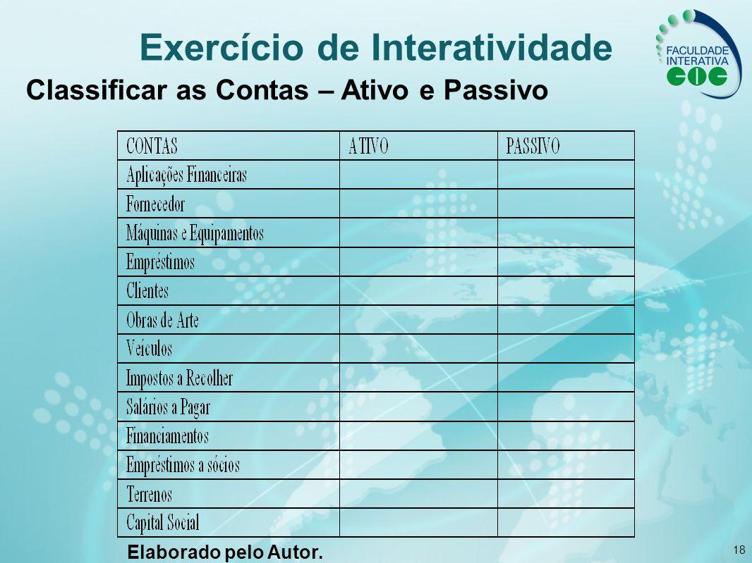 18 Exercício de Interatividade Classificar as Contas – Ativo e Passivo Elaborado pelo Autor.