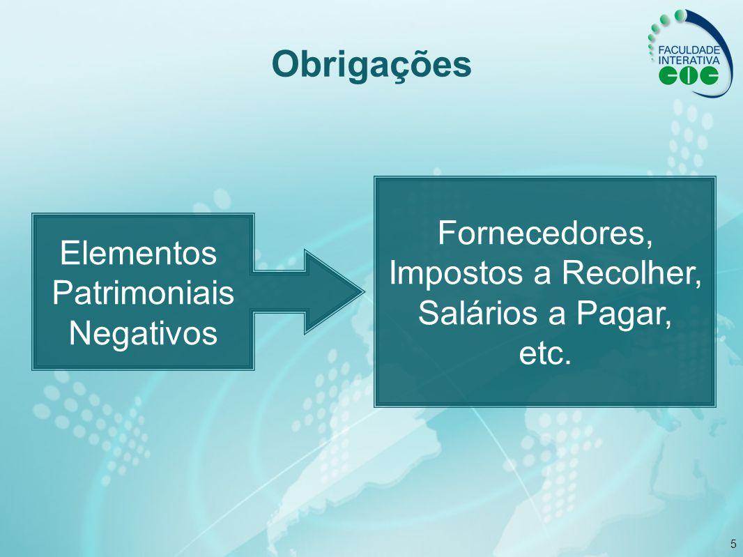 5 Obrigações Elementos Patrimoniais Negativos Fornecedores, Impostos a Recolher, Salários a Pagar, etc.