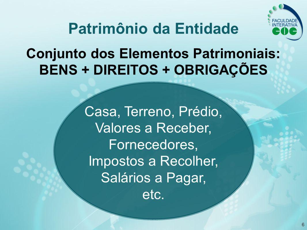 6 Patrimônio da Entidade Conjunto dos Elementos Patrimoniais: BENS + DIREITOS + OBRIGAÇÕES Casa, Terreno, Prédio, Valores a Receber, Fornecedores, Imp