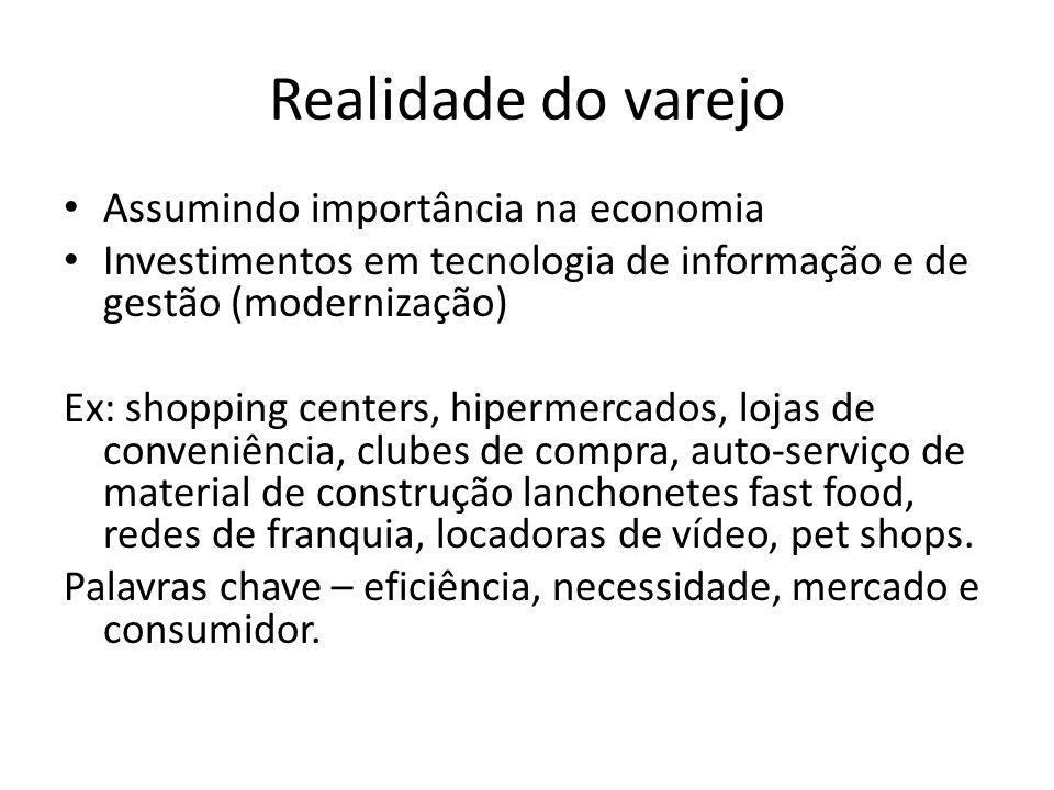 Realidade do varejo Assumindo importância na economia Investimentos em tecnologia de informação e de gestão (modernização) Ex: shopping centers, hiper