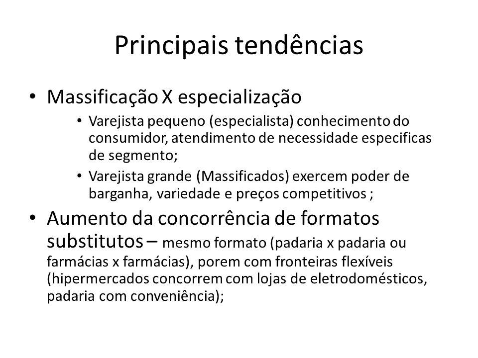 Principais tendências Massificação X especialização Varejista pequeno (especialista) conhecimento do consumidor, atendimento de necessidade especifica