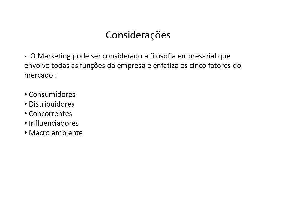 Considerações - O Marketing pode ser considerado a filosofia empresarial que envolve todas as funções da empresa e enfatiza os cinco fatores do mercad