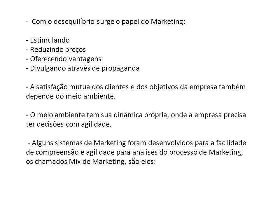 - Com o desequilíbrio surge o papel do Marketing: - Estimulando - Reduzindo preços - Oferecendo vantagens - Divulgando através de propaganda - A satis
