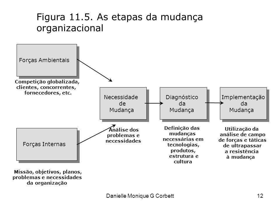 Danielle Monique G Corbett12 Figura 11.5. As etapas da mudança organizacional Forças Ambientais Forças Internas Necessidade de Mudança Diagnóstico da