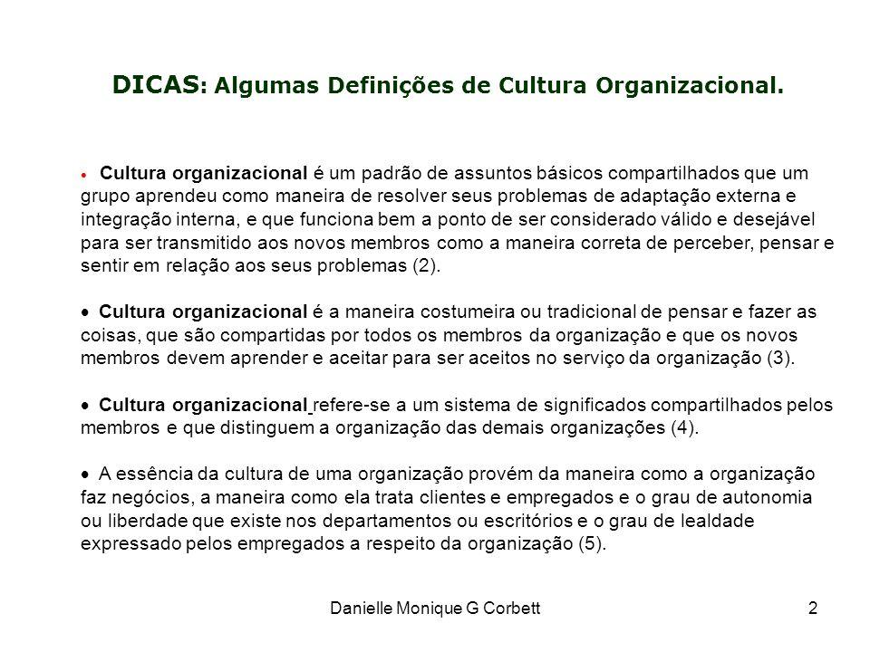 Danielle Monique G Corbett2 DICAS : Algumas Definições de Cultura Organizacional. Cultura organizacional é um padrão de assuntos básicos compartilhado
