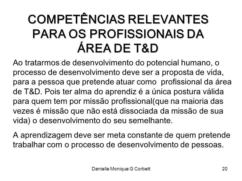 Danielle Monique G Corbett20 COMPETÊNCIAS RELEVANTES PARA OS PROFISSIONAIS DA ÁREA DE T&D Ao tratarmos de desenvolvimento do potencial humano, o proce