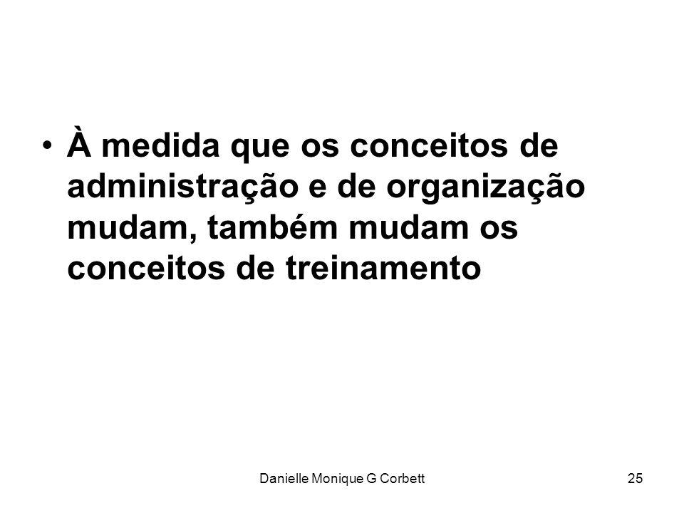 Danielle Monique G Corbett25 À medida que os conceitos de administração e de organização mudam, também mudam os conceitos de treinamento