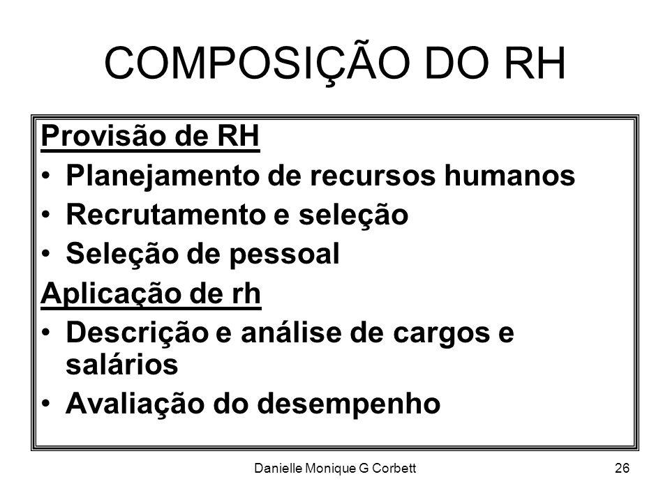 Danielle Monique G Corbett26 COMPOSIÇÃO DO RH Provisão de RH Planejamento de recursos humanos Recrutamento e seleção Seleção de pessoal Aplicação de r