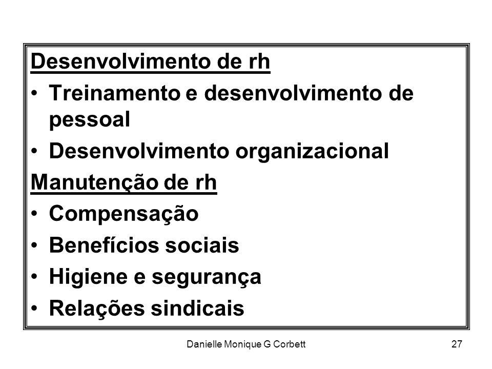 Danielle Monique G Corbett27 Desenvolvimento de rh Treinamento e desenvolvimento de pessoal Desenvolvimento organizacional Manutenção de rh Compensaçã