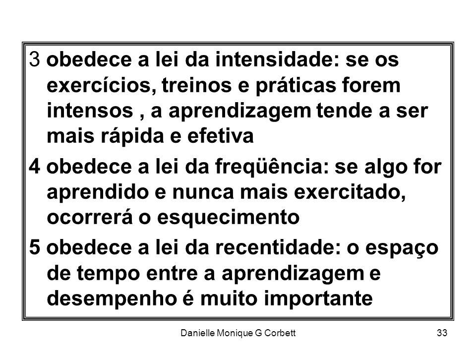 Danielle Monique G Corbett33 3 obedece a lei da intensidade: se os exercícios, treinos e práticas forem intensos, a aprendizagem tende a ser mais rápi