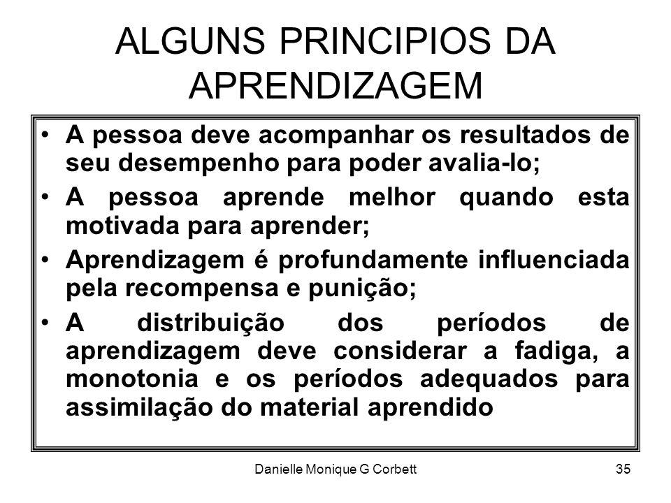 Danielle Monique G Corbett35 ALGUNS PRINCIPIOS DA APRENDIZAGEM A pessoa deve acompanhar os resultados de seu desempenho para poder avalia-lo; A pessoa