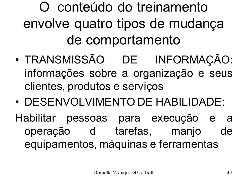 Danielle Monique G Corbett42 O conteúdo do treinamento envolve quatro tipos de mudança de comportamento TRANSMISSÃO DE INFORMAÇÃO: informações sobre a
