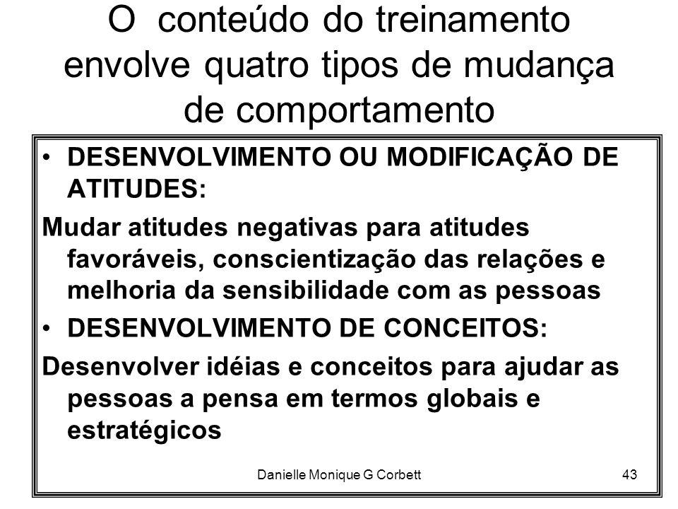 Danielle Monique G Corbett43 O conteúdo do treinamento envolve quatro tipos de mudança de comportamento DESENVOLVIMENTO OU MODIFICAÇÃO DE ATITUDES: Mu