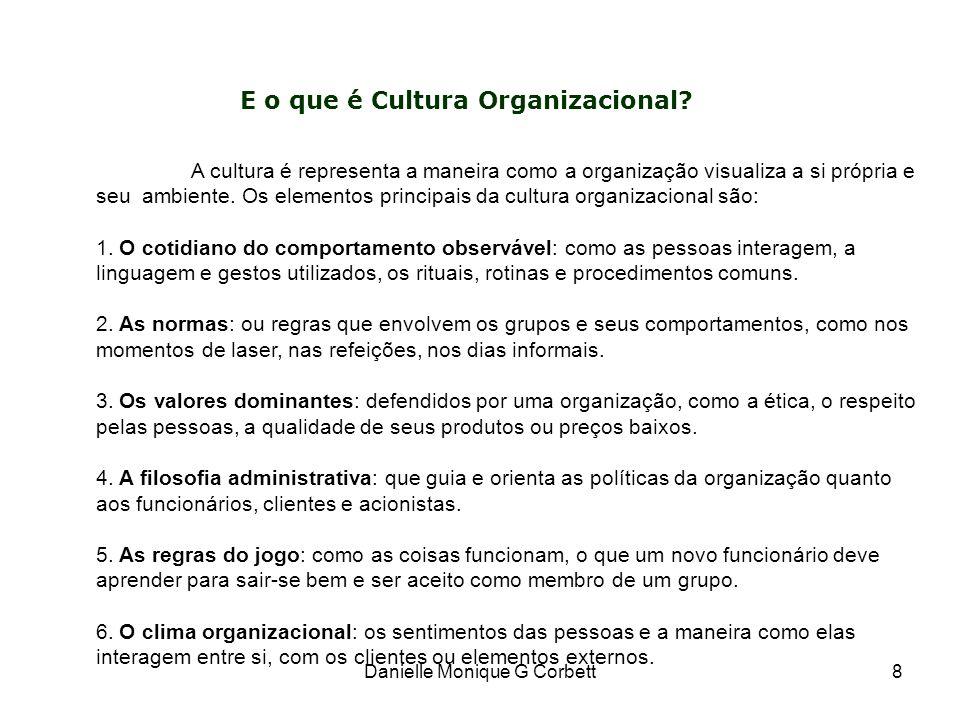 8 A cultura é representa a maneira como a organização visualiza a si própria e seu ambiente. Os elementos principais da cultura organizacional são: 1.