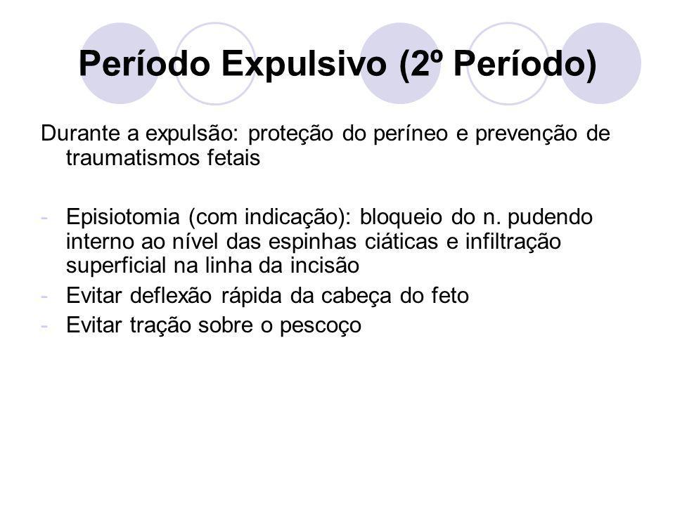 Período Expulsivo (2º Período) Durante a expulsão: proteção do períneo e prevenção de traumatismos fetais -Episiotomia (com indicação): bloqueio do n.
