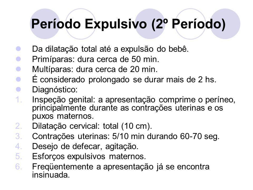 Período Expulsivo (2º Período) Da dilatação total até a expulsão do bebê. Primíparas: dura cerca de 50 min. Multíparas: dura cerca de 20 min. É consid