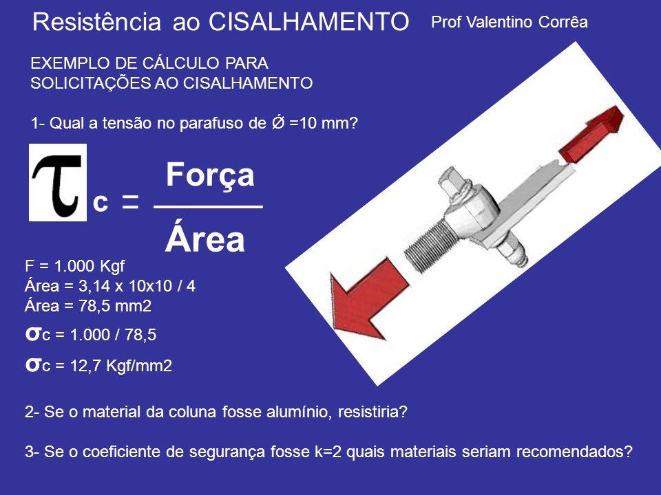 Prof Valentino Corrêa Resistência ao CISALHAMENTO EXEMPLO DE CÁLCULO PARA SOLICITAÇÕES AO CISALHAMENTO 1- Qual a tensão no parafuso de Ǿ =10 mm.
