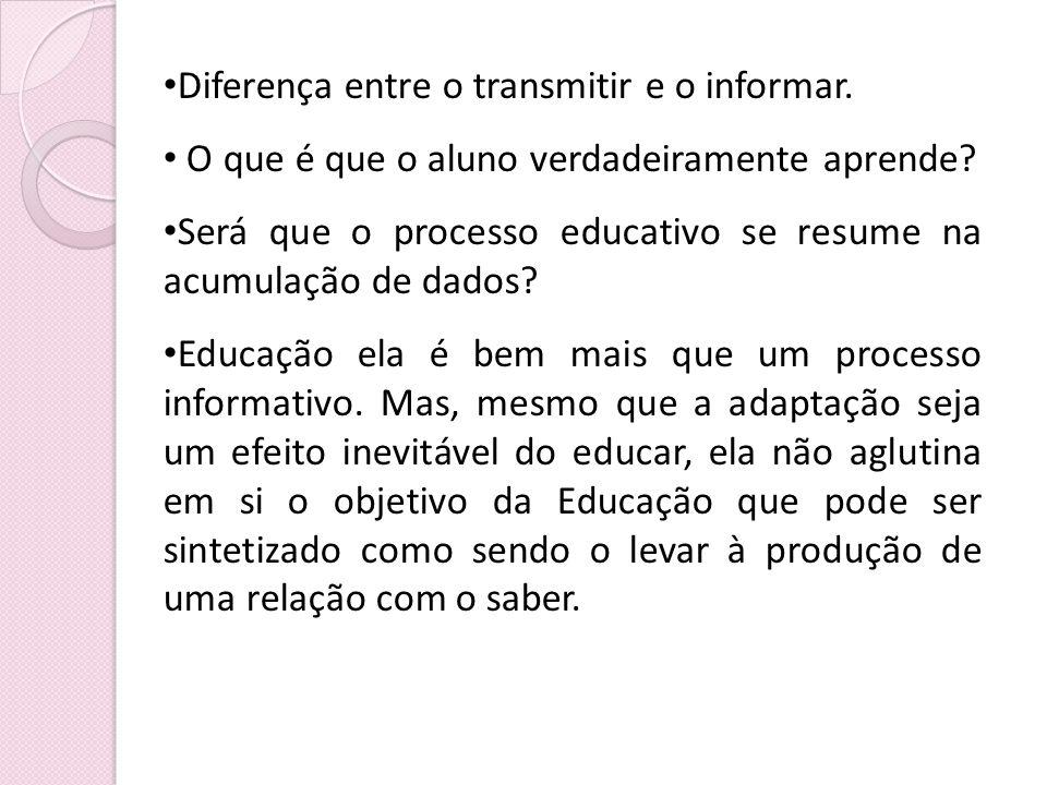 Diferença entre o transmitir e o informar. O que é que o aluno verdadeiramente aprende? Será que o processo educativo se resume na acumulação de dados